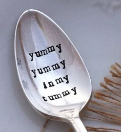 So much fun, hand stamped silverware on this site! Great idea for a gift