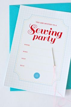 Free printable:  Sewing Party Invitation {One Charming Party}