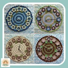 Items similar to Clock, Wall Clock, Crochet Wall Clock, Crochet Clock, Crochet Flower Clock on Etsy Crochet Mandala, Crochet Doilies, Crochet Flowers, Crochet Table Mat, Crochet Kitchen, Wooden Clock, Home Decor Items, Etsy Seller, My Etsy Shop