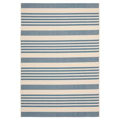Loomed indoor/outdoor rug, featuring beige and blue stripes. Polypropylene. 5.3 X 7.7. Made in Turkey. $85.95. Joss & Main.