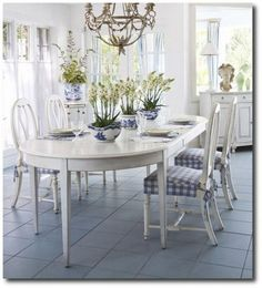Blue and White Home Swedish Dining Room Set Country Painting, Low VOC Paint, Chalk Paint, Milk Paint, Country Style Furniture, Antique Painted Furniture,
