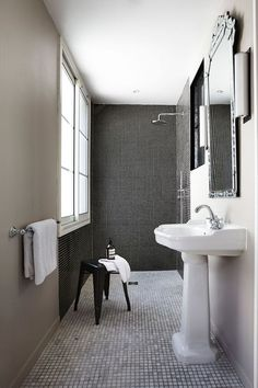 Small Space Parisian Apartment Renovation By Interior Designer Adrien Pillay Bathroom Remodeling Contractors, Home Remodeling, White Bathroom, Small Bathroom, Neutral Bathroom, Bathroom Canvas, Mosaic Bathroom, Large Bathrooms, Mosaic Tiles