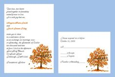 $89.99 (plus $12 shipping) for 100 Personalized Custom Fall Autumn Tree Bridal Wedding Invitations Sets, includes response cards | eBay