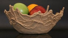 Israeli designer, Leetal Rivlin has created a line of bowls by combining sand and an adhesive. I love the dynamic feel of the dripping sand . Fruit Box, New Fruit, Vegetable Crafts, Fruit Decorations, Fruit Party, Fruit Displays, Fruit Of The Spirit, Fruit Print, Best Fruits