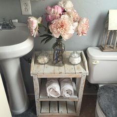 Shabby Chic Wood Bathroom Shelves by TheHarvestTrail on Etsy