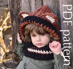 CROCHET PATTERN   Fox Hooded Cowl For by WARMcosyWOOLeu on Etsy