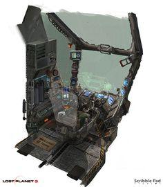 Lost Planet 3 - Cockpit Design, Scribble Pad Studios on ArtStation at https://www.artstation.com/artwork/lost-planet-3-cockpit-design-6864f3f6-5559-4dcf-9837-bd2031469e45