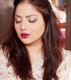 Gold eyes with Bold lips,FOTD,Bold Wine Lips,Festive Makeup,Indian Bridal Makeup
