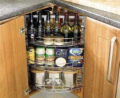 13 Ingenious Storage Hacks for Your Tiny Kitchen Small Kitchen Storage, Small Space Kitchen, Kitchen Cabinet Storage, Diy Kitchen, Kitchen Decor, Interior Design Kitchen, Interior Decorating, Built In Cabinets, Storage Hacks