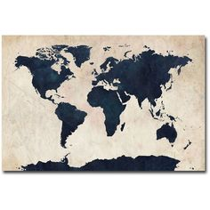 Trademark Fine Art 'World Map - Navy' by Michael Tompsett Graphic Art on Wrapped Canvas Deco Studio, Canvas Wall Art, Canvas Prints, Big Canvas, Canvas Size, Art Prints, Art Carte, World Map Canvas, Poster Design