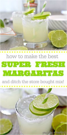 Homemade Fresh Margarita Recipe to enjoy all summer long! If you are looking for the perfect summer drink, then this Homemade Fresh Margarita Recipe is for you! These margaritas are so fresh that you will crave them all summer long! Beach Drinks, Summer Drinks, Cocktail Drinks, Fun Drinks, Healthy Drinks, Alcoholic Drinks, Beverages, Simple Tequila Drinks, Lime Cocktail Recipes