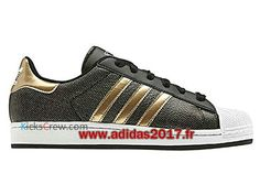 Adidas Superstar 2 W - Chaussure Adidas Originals Pas Cher Pour Homme/Femme Noir Métallisé Or Q23591