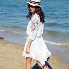 >> Click to Buy << Summer Dress Women Vintage Flowers Embroidery Dresses Bohemian Beach Dobby Dress Ladies White Beautiful Casual Dresses NS684 #Affiliate