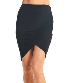 Loving this Black Surplice-Hem Miniskirt on #zulily! #zulilyfinds