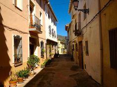 Calle principal La Carroja. Flores y motivos mediterráneos guían el camino.