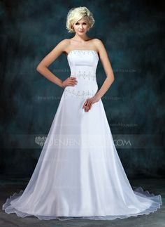 Wedding Dresses - $169.99 - A-Line/Princess Strapless Chapel Train Organza Satin Wedding Dress With Ruffle Beading Sequins (002001403) http://jenjenhouse.com/A-Line-Princess-Strapless-Chapel-Train-Organza-Satin-Wedding-Dress-With-Ruffle-Beading-Sequins-002001403-g1403?ver=1