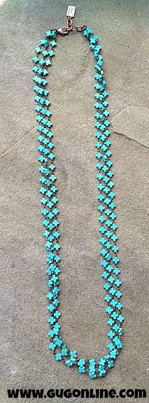 3 Long Strands of Turquoise Linked Crosses Necklace $36.95 www.gugonline.com