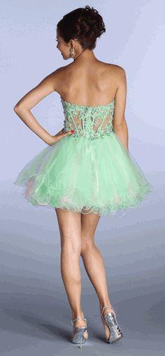 Mint with Pink Strapless Lace Applique Sweet-Sixteen Dress #StraplessDress #Sweet16 #Dresses #PromDress #Discountdressup