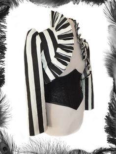 gothic steampunk stripe jacket, shrug. http://www.emeraldangel.co.uk/stripe-jacket-shrug.html £76.99