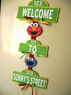 Handmade Customizable Sesame Street Elmo Cookie Monster Birthday Party Door Sign via Etsy Monster Birthday Parties, Elmo Party, Birthday Party Themes, 2nd Birthday, Birthday Ideas, Mickey Party, Dinosaur Party, Dinosaur Birthday, Sesame Street Party