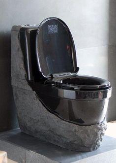 China Granite Toilet - Black Galaxy, Find details about China Stone Toilet, Granite Toilet from Granite Toilet - Black Galaxy - Xiamen Furnishing Stone Imp&Exp Co. Gothic Bathroom Decor, Diy Wood Countertops, Black Toilet, Window In Shower, Stone Bathroom, Luxury Restaurant, Bathroom Toilets, Bathroom Renovations, Bathroom Ideas