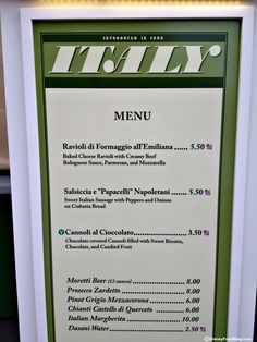 Italy Menu | 2012 Epcot Food and Wine Festival