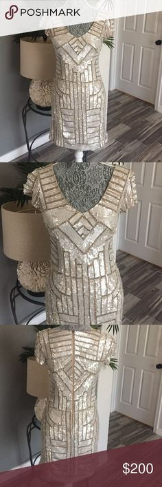 Adrianna Papell dress Beautifully beaded sequin dress gold and beige never used size 6 Adrianna Papell Dresses Midi