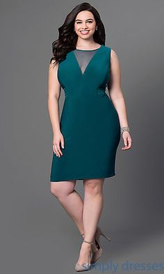 Shop cheap plus-size holiday dresses at Simply Dresses. Short party dresses under $100 for semi formals with sheer-illusion cut outs and v-backs.