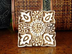 Square Stamp: Hand Carved Printing Block, Large Indian Wooden Stamp for Textiles or Ceramics, Handmade Wood Stamp, India