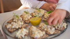 Egg and anchovies on crispbread (gubbröra) recipe : SBS Food