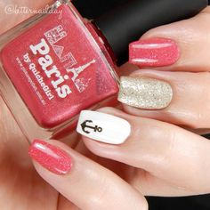 Shimmery Coral and Gold Nails With Anchor ⚓️