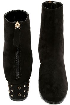 """What would you do for a pair of the Peggy Black Suede Studded Mid-Calf Boots? These vegan suede mid-calf boots, with a rounded toe, are completely covetable thanks to gold studs and black jewels that embellish the low, block heel. 5.5"""" heel zipper."""