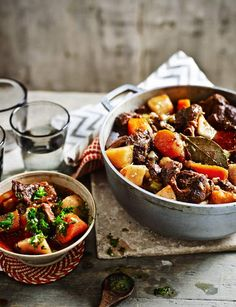 Slow-cooked beef stew with gremolata. A moreish and tender beef one pot by Hemsley+Hemsley. Slow Cook Beef Stew, Slow Cooked Beef, How To Cook Beef, Meat Recipes, Slow Cooker Recipes, Cooking Recipes, Healthy Recipes, Batch Cooking, Slow Cooking