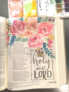 1 Sam 2:2 Bible art journaling by @patjournals. Watercolor