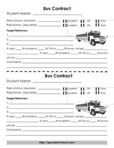 Behavior Contracts/Self Monitoring - Behavior contract specifically for the bus, for students who struggle to stay safe and calm and engaged in appropriate behaviors on the bus ride to and from school.