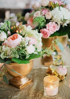gold footed vase & glitter votives//love the green, peony & gold color palette