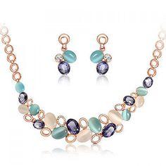 Rose Gold Crystal Rhinestone Faux Cat s Eye Stone Earrings Necklace Jewelry  Set a33eea29b414