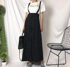 Fashion Women Vintage Polka Dot Print Long Skirt Casual A Line Black Maxi Skirt High Waist Slim Split Suspender Skirt Streetwear Casual Skirt Outfits, Casual Skirts, Work Outfits, Outfit Work, Long Skirts, Women's Casual, Estilo Preppy, Women's Fashion Leggings, Suspender Skirt