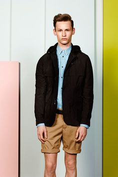 Cacharel unveiled its second menswear collection for Spring/Summer featuring slim cuts and slender silhouettes. Summer 2014, Spring Summer, Love Fashion, Mens Fashion, 21 Men, Raincoat, Bomber Jacket, Menswear, Jackets