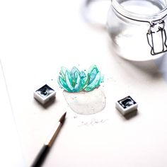 #watercolor #aloevera #watercoloring #aquarelle #floral #flower #illustration Lettering, Floral Watercolor, Aloe Vera, Florals, Stud Earrings, Flower, Instagram, Illustration, Jewelry