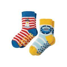 ff7960fb95 Frugi Organic Grippy Socks 2 Pack - Lighthouse Multipack. Baby goes Retro