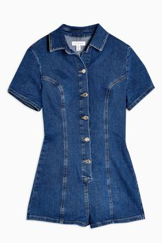 Topshop Stretch Denim Button Through Mini Romper - Women Jumpsuit/One Piece on YOOX. The best online selection of Jumpsuits/One Pieces Topshop. Casual Shorts Outfit, Casual Outfits, Topshop Outfit, Rompers Women, Jumpsuits For Women, Overall, Playsuits, Short Outfits, Stretch Denim