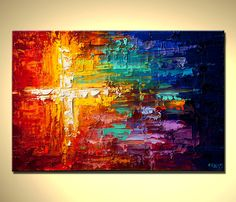 Original Abstract Painting Colorful Art  textured impasto palette knife Into the Light by OSNAT 36x24. $370.00, via Etsy.