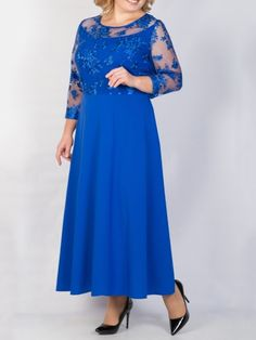 Ericdress Round Neck Plus Size Ankle-Length A-Line Lace Dress, Dress Outfits, Casual Dresses, Fashion Dresses, Mom Dress, Lace Dress, Simple Cocktail Dress, Mother Of The Bride Plus Size, Amazing Wedding Dress, Kurta Designs Women