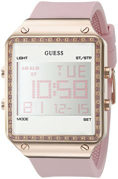 GUESS Women's U0700L2 Digital Pink Silicone Watch with Alarm, Dual Time Zone and Chronograph Functions * You can find more details by visiting the image link.