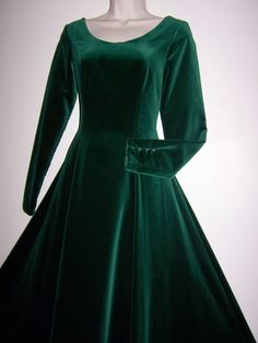 LAURA ASHLEY VINTAGE JADE GREEN VELVET MAXI DRESS