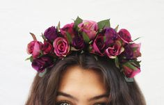 frida flowers in hair | ... Flower Crown - Frida Kahlo Flower Crown. Frida Costume, Rose Headband