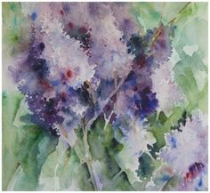 watercolor lilac paintings | Mass of Lilacs and a Profound Thought