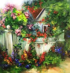 Garden Gala Cottage With Roses, Hydrangeas, and Delphiniums by Texas Flower Artist Nancy Medina, painting by artist Nancy Medina
