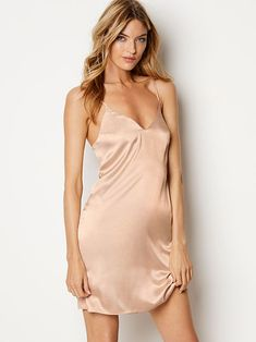 Clothing, Shoes & Accessories Just Victorias Secret Womens S Chemise Slip Fitted Satin Lace Built In Bra Gores Gold